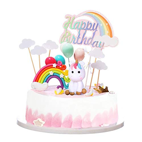 Unicorn Rainbow Cake Topper Birthday Wedding Cake Flags With Cloud