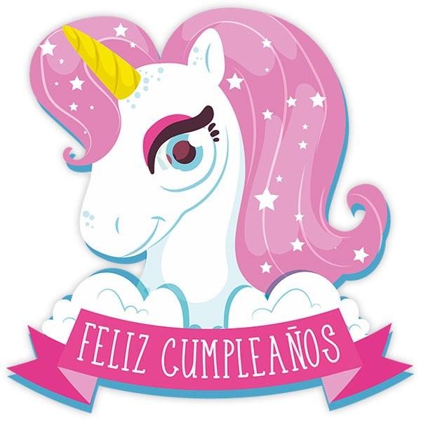 Wall Sticker Unicorn Happy Birthday In Spanish